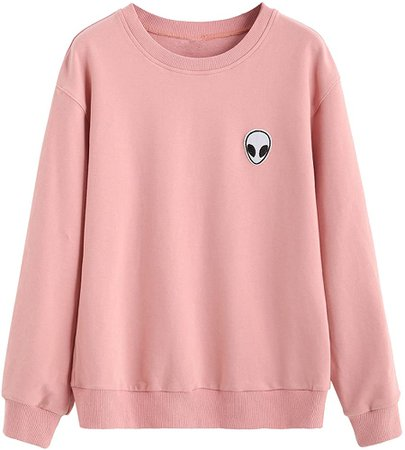 SweatyRocks Sweatshirt Women Pink Alien Patch Drop Shoulder Long Sleeve Shirt (X-Large, pink) at Amazon Women's Clothing store