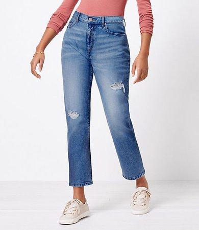 The Curvy Destructed High Waist Straight Crop Jean in Authentic Light Indigo Wash