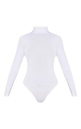 Basic White Roll Neck Long Sleeve Bodysuit   PrettyLittleThing