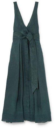 Kalita - Poet By The Sea Linen Maxi Dress - Emerald