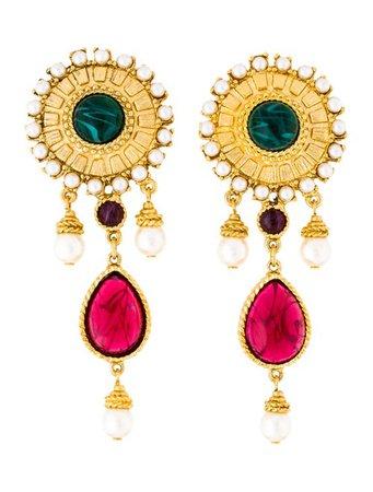 Ben-Amun Faux Pearl & Resin Drop Earrings - Earrings - W8Z20438 | The RealReal