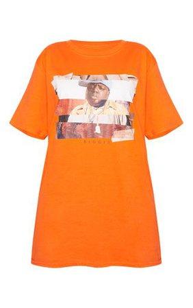 Orange Biggie Print Oversized T Shirt   Tops   PrettyLittleThing
