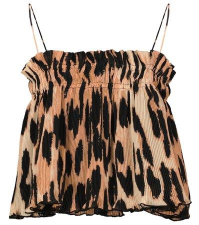 Ganni - Leopard-print georgette camisole   Mytheresa
