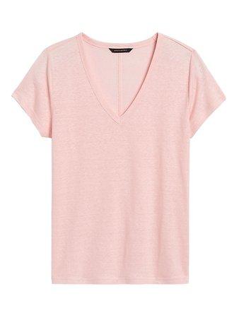 Linen V-Neck T-Shirt | Banana Republic