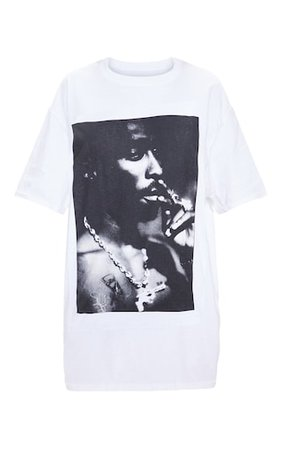 White Tupac Portrait Print T Shirt | Tops | PrettyLittleThing USA