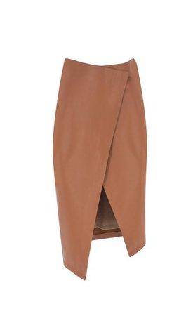 Wrap-Effect Leather Midi Skirt By Zeynep Arçay | Moda Operandi