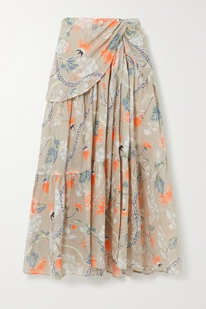 Ruched Floral-print Ramie Midi Skirt - Green