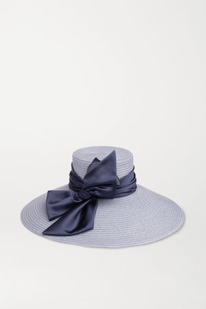 Blue Mirabel satin-trimmed straw hat | Eugenia Kim | NET-A-PORTER