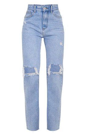 LIGHT BLUE WASH DISTRESSED HIGH WAIST STRAIGHT LEG JEANS