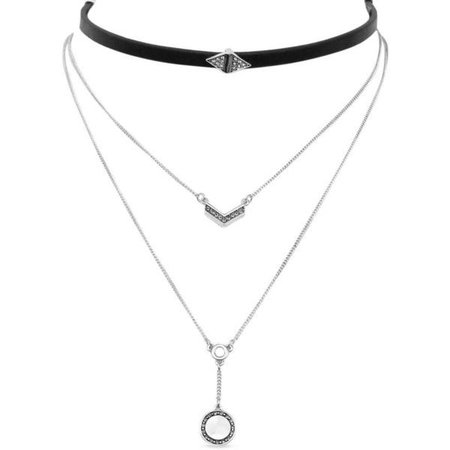 Silver Layered Necklace w/ Black Choker
