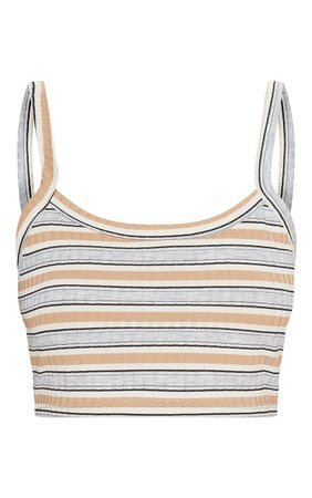 PrettyLittleThing Sand Rib Scoop Neck Stripe Crop Top