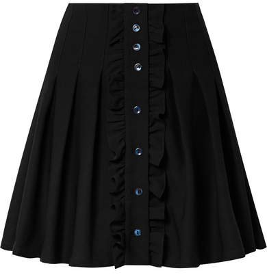 Victoria Ruffled Pleated Crepe Mini Skirt - Black
