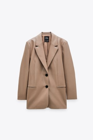 FAUX LEATHER OVERSIZED BLAZER | ZARA United States