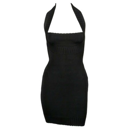 1992 AZZEDINE ALAIA black halterneck mini dress with scalloped trim For Sale at 1stdibs