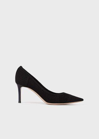 Leather Court Shoes With Asymmetric Top Line