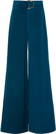 Buckled Silk Wide-leg Pants