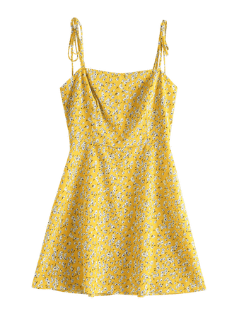 [35% OFF] [POPULAR] 2019 ZAFUL Floral Tie Strap Apron Mini Sundress In BEE YELLOW S | ZAFUL