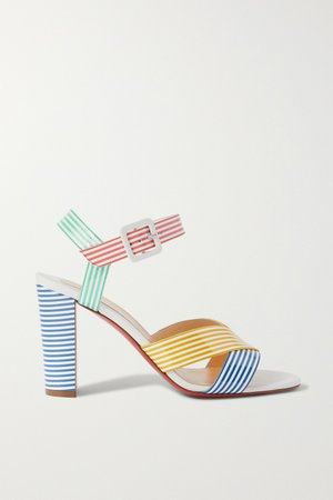 Blue Palavas 85 striped patent-leather sandals | Christian Louboutin | NET-A-PORTER