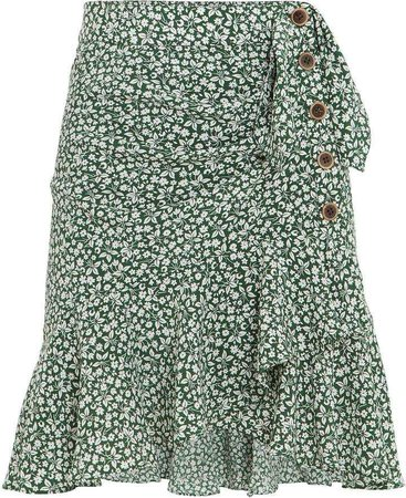 Veronica Beard Kaia Ruffle Floral Mini Skirt