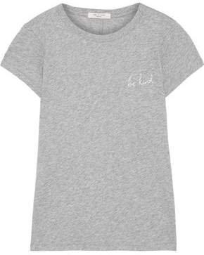 Be Kind Embroidered Melange Pima Cotton-jersey T-shirt