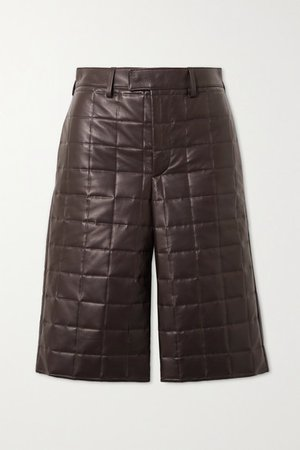 Quilted Leather Shorts - Brown