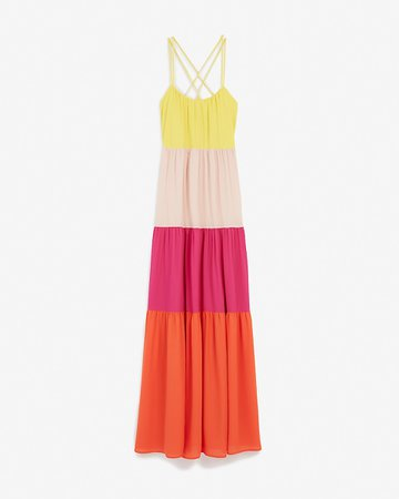Color Block Maxi Dress | Express