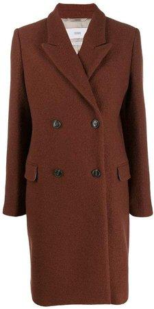 double-breasted midi coat