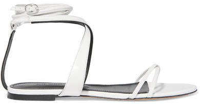 Afby Glossed-leather Sandals - White