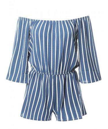 Women's Pinstripe Print Off-Shoulder Romper Jumpsuit - FashionOutfit.com