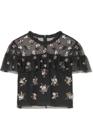 Needle & Thread | Lustre cropped embellished tulle top | NET-A-PORTER.COM