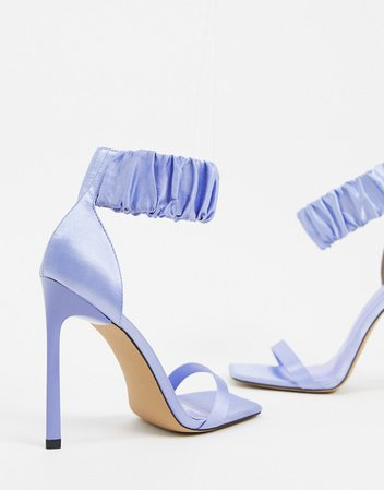 ASOS DESIGN Nettie scrunchie cuff barely there heeled sandals in blue | ASOS