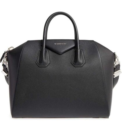 Givenchy   'Medium Antigona' Sugar Leather Satchel in Black
