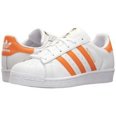 adidas Originals Superstar (White/Tactile Orange/Gold) Women's Tennis... (4.725 RUB) ❤ liked on Polyvore featuring shoes, tennis shoes, laced shoes, lace up tennis shoes, grip shoes and adidas originals
