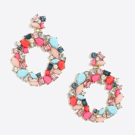 J.Crew Factory: Colorful wreath statement earring