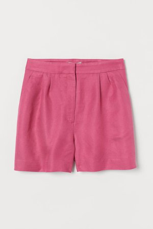 Linen-blend shorts - Pink - Ladies | H&M