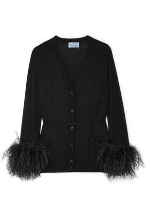 Prada   Feather-trimmed cardigan   NET-A-PORTER.COM