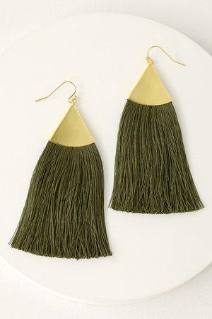 Cute Green Earrings - Tassel Earrings - Boho Earrings
