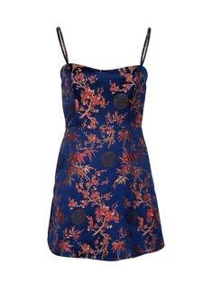 blue floral red dress