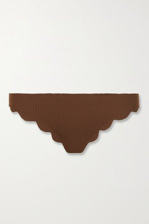 Broadway Scalloped Stretch-crepe Bikini Briefs - Brown
