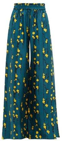 Wide Leg Floral Print Silk Trousers - Womens - Green Print