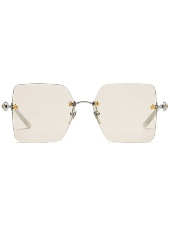Gucci Eyewear Frameless Square Sunglasses 610402I3330 Silver | Farfetch