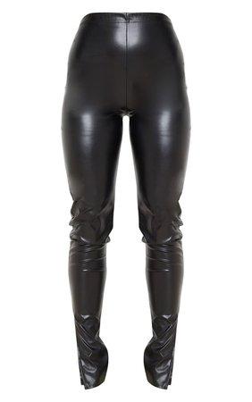 Black Faux Leather Split Hem Leggings | PrettyLittleThing