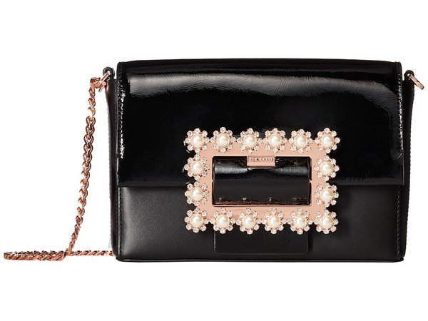 Ted Baker - Embellished Buckle Clutch (Black) Clutch Handbags