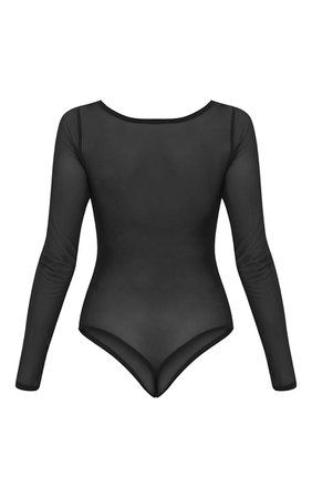 Black Mesh Crew Neck Longsleeve Thong Bodysuit | PrettyLittleThing USA