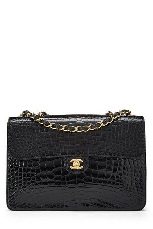 Chanel Black Alligator Half Flap Jumbo - What Goes Around Comes Around