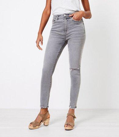 The Petite Chewed Hem High Waist Skinny Jean in Silver Grey
