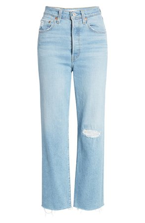 Levi's® Ribcage Ripped High Waist Ankle Straight Leg Jeans | Nordstrom