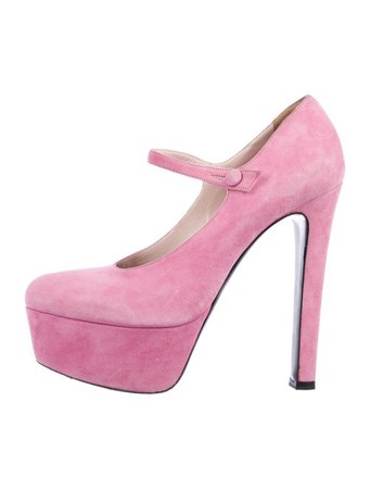 Miu Miu Suede Round-Toe Pumps - Shoes - MIU72069 | The RealReal