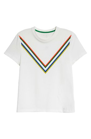Tory Sport by Tory Burch Tempo Chevron Graphic Cotton Blend Tee | white