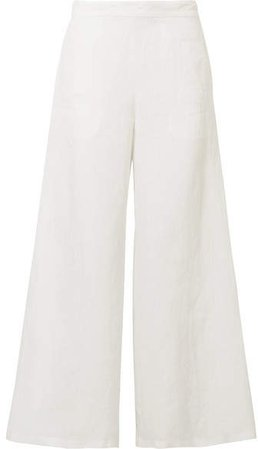 Linen Wide-leg Pants - White